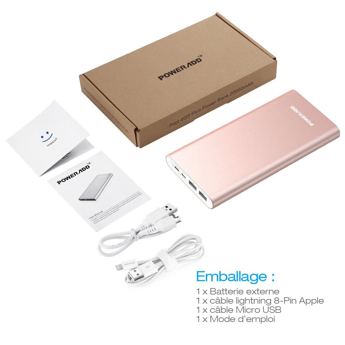 POWERADD Pilot 4GS Plus Batterie Externe 20000mAh/74Wh Deux Entrée Lightning+Micro USB et Sortie (3A+3A) pour iPhone X/8/8 Plus, Samsung, Huawei, iPad, Tablette etc- Rose Doré