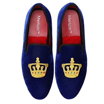 Velvet Loafer Embroidered King's Crown Decoration