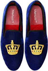 46c691f8473 Merlutti Velvet Loafer Embroidered King s Crown Decoration (Black