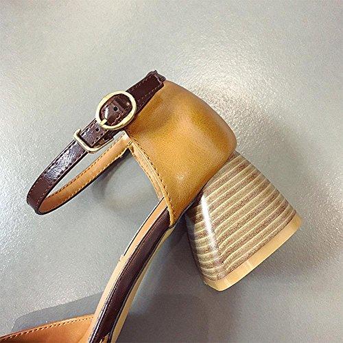 Die neuen hochhackigen Schuhe mit dicken Sandalen Frauen Sandalen hohlen Baotou Wort quadratische Kopf Damenmode Schnalle Green