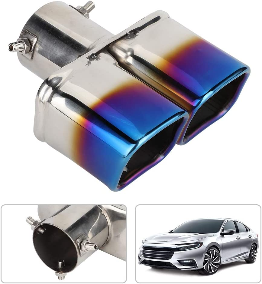 Universal Stainless Steel Car Modified Double Exhaust Pipe Rear Muffler Tip Tail Throat Suuonee Exhaust Muffler Pipe