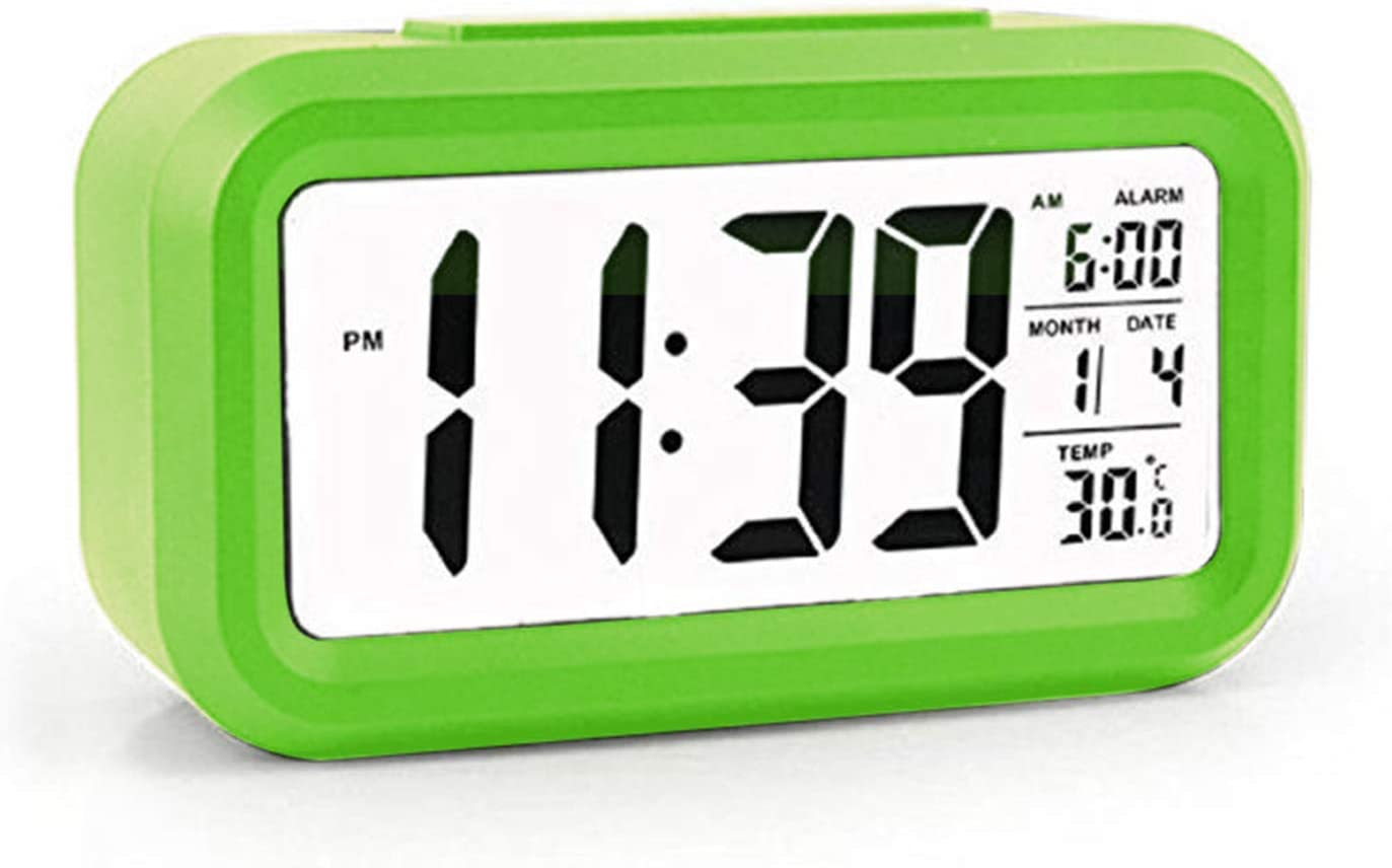 Flow.month Ambient Brightness Smart Backlight-Battery Operated/Long Battery Life Digital Alarm Clock, Snooze Function/Large Digit Display Alarm Clock for Heavy Sleepers/Bedroom/Kids/Travel-Green