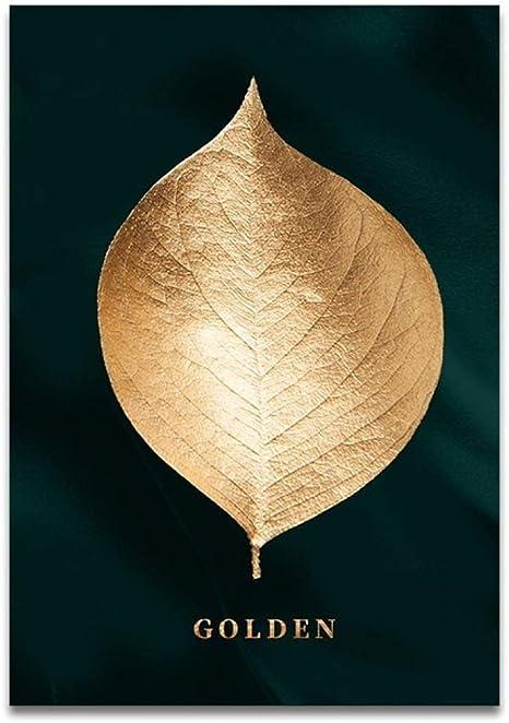 LiMengQi Abstracto Planta Dorada Hojas Cuadro Pared Cartel Estilo Moderno Lienzo impresión Pintura Arte Pasillo Sala de Estar decoración única(No Frame): Amazon.es: Hogar