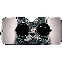 JoyLamoria Cat with Glasses Car Windshield Sun Shade Front Window Visor Sunshade Universal Fit, Protect Your Vehicle…