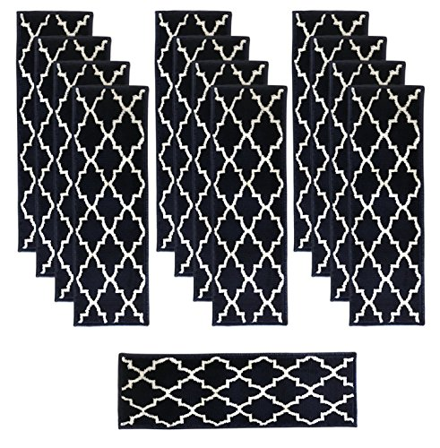 - Sultansville Trellisville Collection Trellis Design Vibrant and Soft Stair Treads, Blue, Pack of 13