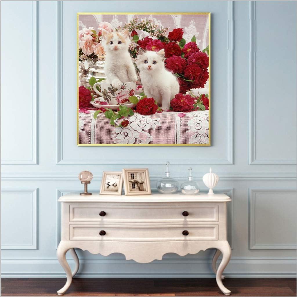 un par de gatos blancos cristales de estr/ás bordado de pared arte manualidades lienzo decoraci/ón sal/ón 30 x 30 cm Kit de punto de cruz para adultos DIY 5D cuadrado diamante pintura por n/úmero