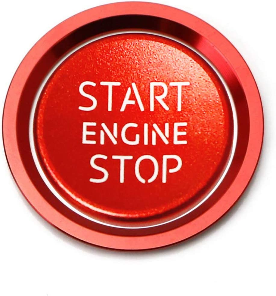 iJDMTOY S-Line RS Style Red Aluminum Keyless Engine Push Start Button w//Surrounding Ring Trim Compatible With A4 A5 A6 A7 A8 Q5 etc
