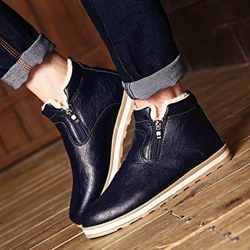 Sgoodshoes Winter Leder Schneestiefel Warme Weiche Winterschuhe Ankle Boots Wasserdicht Reißverschluss Schuhe für Herren Blau