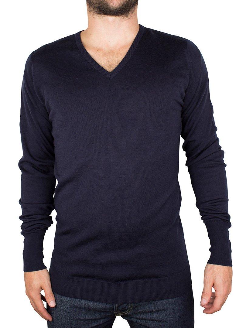 John Smedley Men's Bobby V Neck Merino Sweater, Midnight, Small