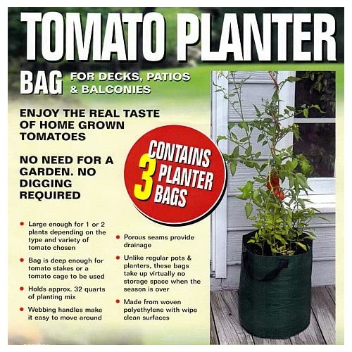 Bosmere K715 Patio Tomato Planter Bag, Green, 3-Pack