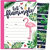 Let's Flamingle Party Invitations with Pink Flamingo and Palm Leaves. 25 Hot Pink Envelopes and Fill in Invites for Soirees, Bridal Showers, Baby Showers, Birthdays, Graduations, Summer Parties