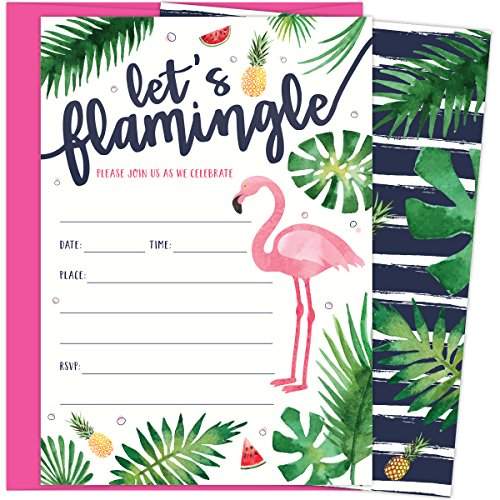 Let's Flamingle Party Invitations with Pink Flamingo and Palm Leaves. 25 Hot Pink Envelopes and Fill in Invites for Soirees, Bridal Showers, Baby Showers, Birthdays, Graduations, Summer Parties ()