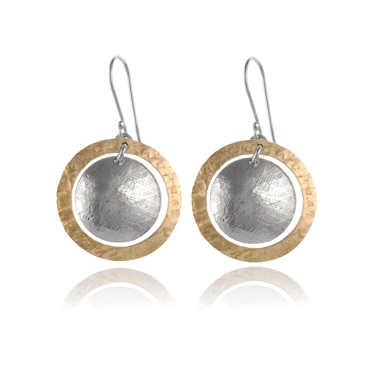 800e1b8d8 Amazon.com: Two Tone Hand Hammered Circle and Disc Earring 925 Sterling  Silver & 14k Gold Filled Dangle Earrings: Jewelry