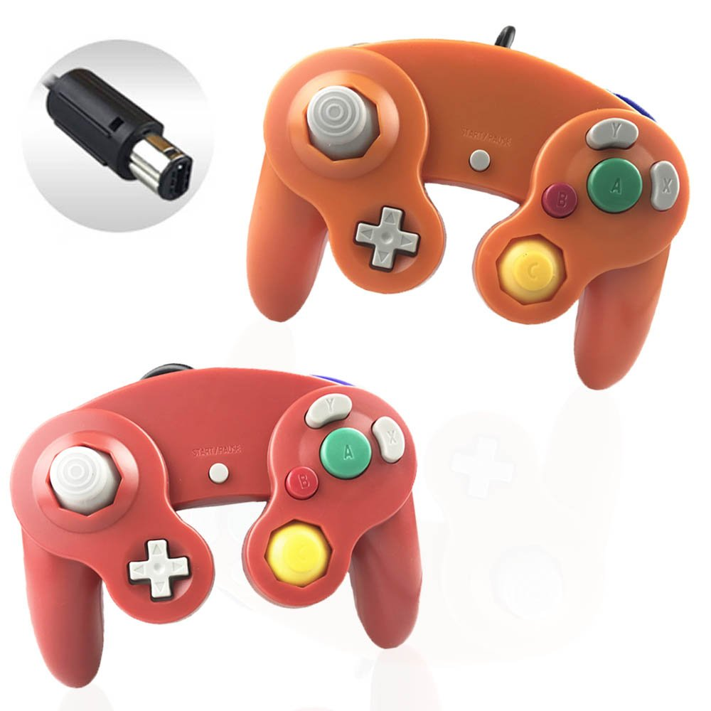 Reiso 2 Packs NGC Controllers Classic Wired Controller for Wii Gamecube(Red and Orange)