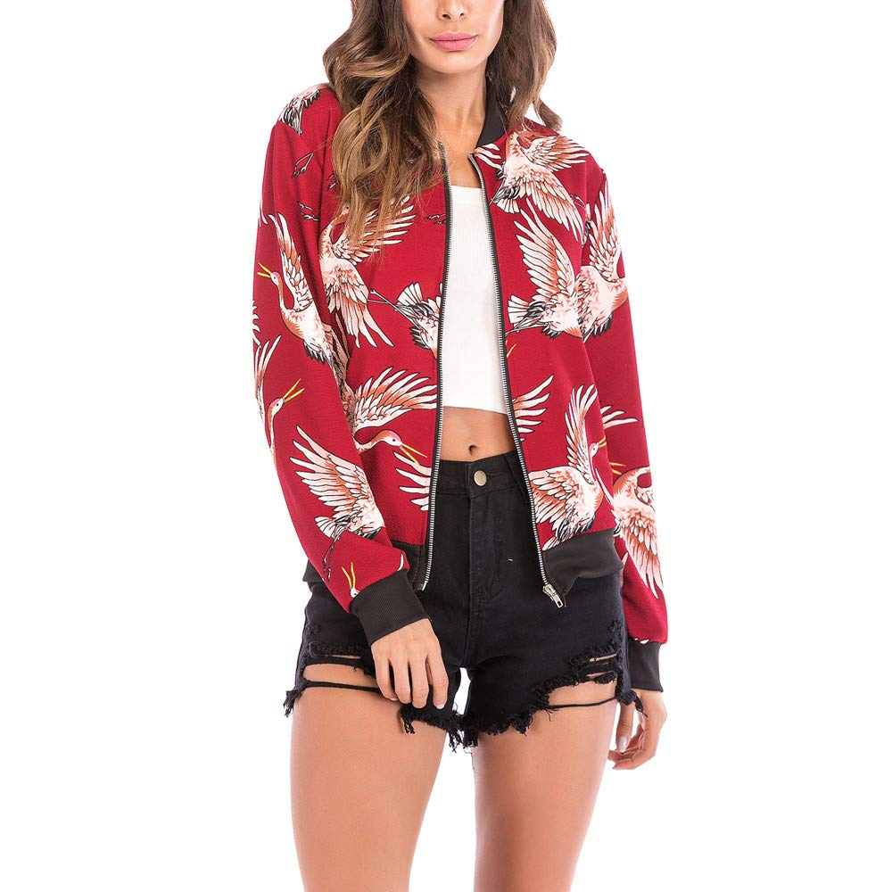 FANOUD Women's Tops Slim Skinny Jacket Coat Bird Print Blouse Fashion Baseball Coat Zipper Jacket