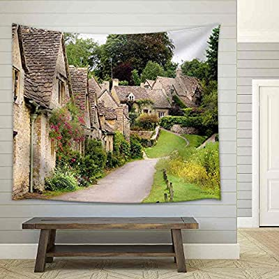 Picturesque Old Stone Houses of Arlington Row in The Village of Bibury England Fabric Wall, Premium Product, Magnificent Design