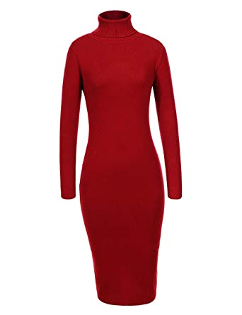 0609bb4fdc4e GLOSTORY Women Long Sleeve Ribbed Knitted Turtleneck Fall Winter Knee  Length Bodycon Sweater Dress 7629 (
