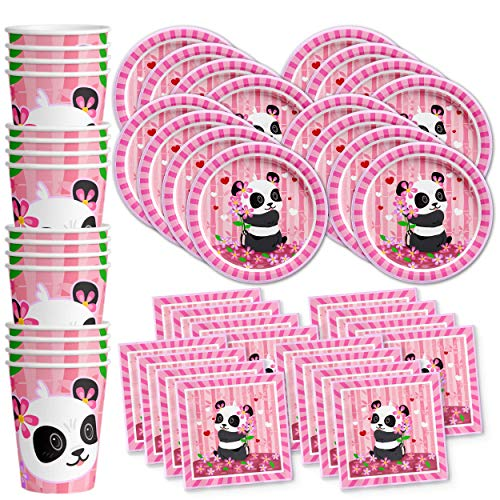Pink Panda Birthday Party Supplies Set Plates Napkins Cups Tableware Kit for 16