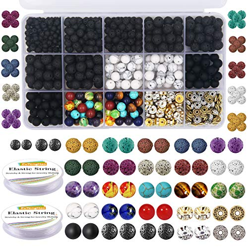- EuTengHao 715Pcs Lava Beads Stone Rock Beads Glass Beads Kit with 8mm Howlite Beads Chakra Beads Spacer Beads Bracelet Elastic String for Diffuser Essential Oils Adult DIY Jewelry Making Supplies