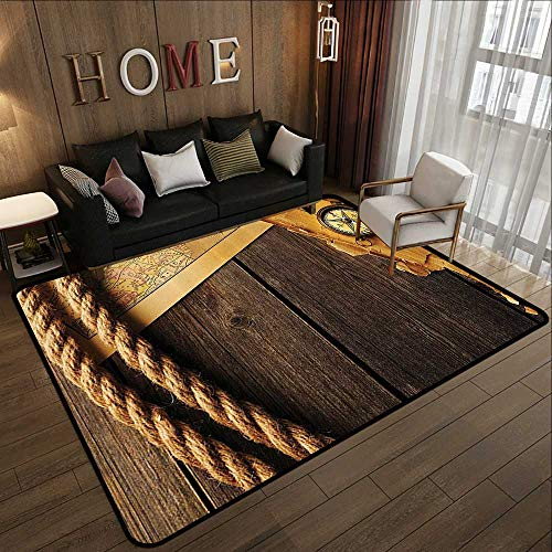 - Custom fit Floor mats,Compass Decor Collection,Antique Brass Compass and Rope Over Old Map on Wooden Timber Table Illustration,Brown Gold 71