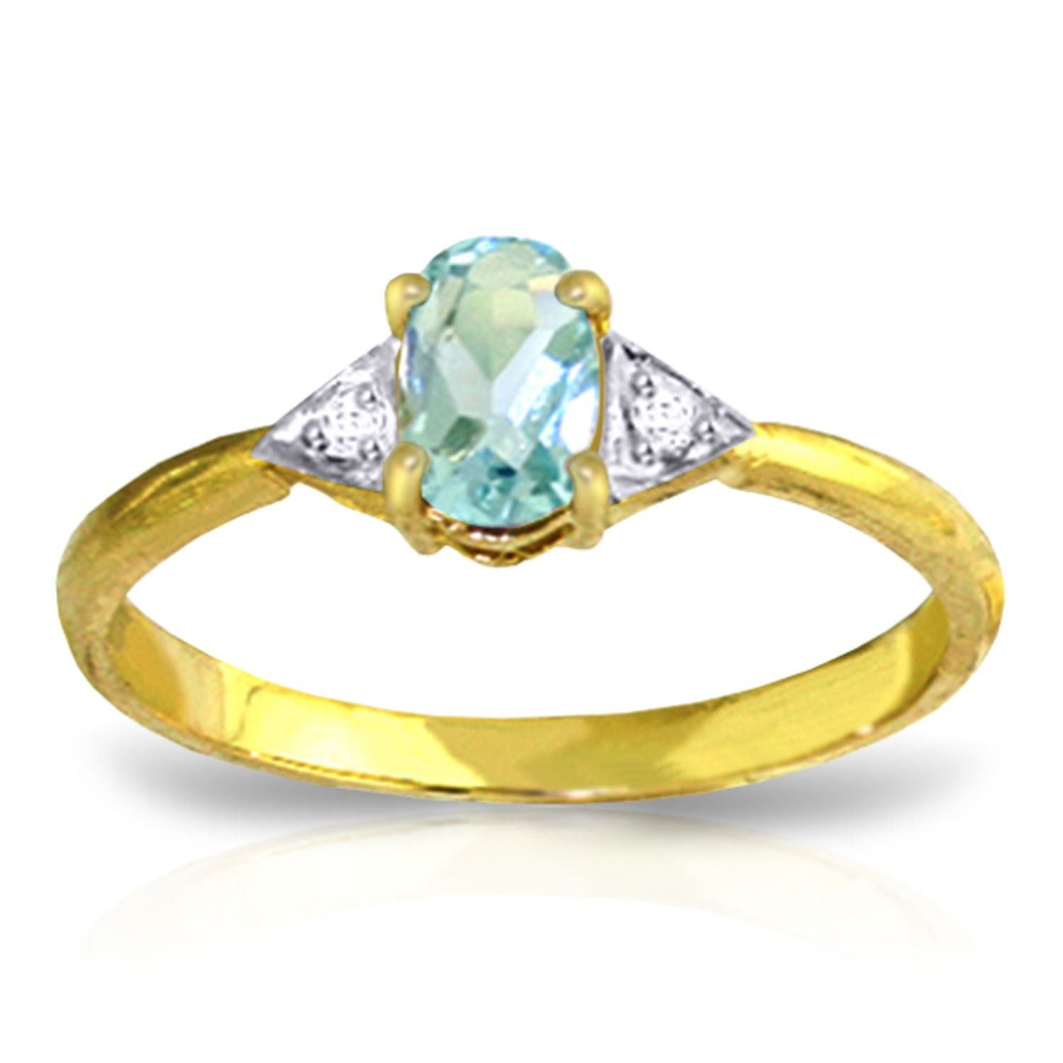 ALARRI 0.46 CTW 14K Solid Gold Being In Love Aquamarine Diamond Ring With Ring Size 5.5