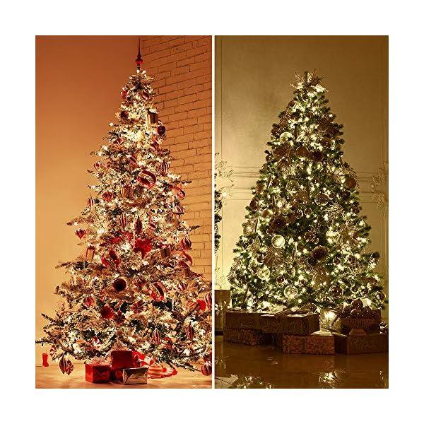 ANSIO Luci natalizie per interni e esterno 1000 LED albero luci Bianco Caldo, 8 modalità con memoria e funzione timer, alimentate, trasformatore incluso 25m Lunghezza illuminata- CAVO VERDE 7 spesavip