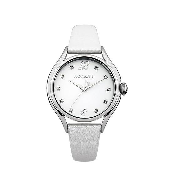 6c782a3b2b1b Reloj Mujer Morgan y Pulsera cuero Blanco Morgan - M1217W  Amazon.es   Relojes