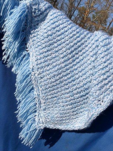 Light Blue Handmade Baby Afghan with Fringe
