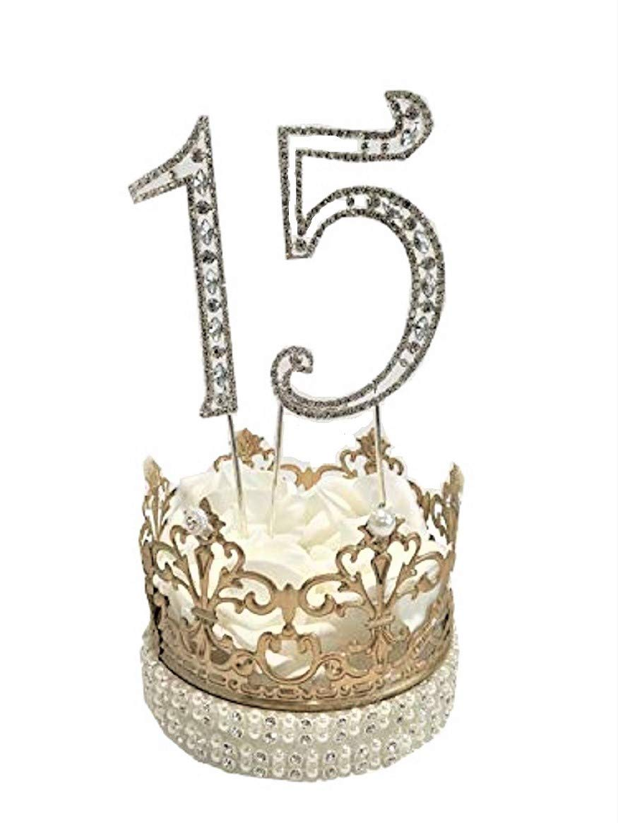 Rhinestone Number 15 Quinceanera Sweet 15 Princess Crown Cake Topper Decoration 9'' H by onlinepartycenter (Image #1)