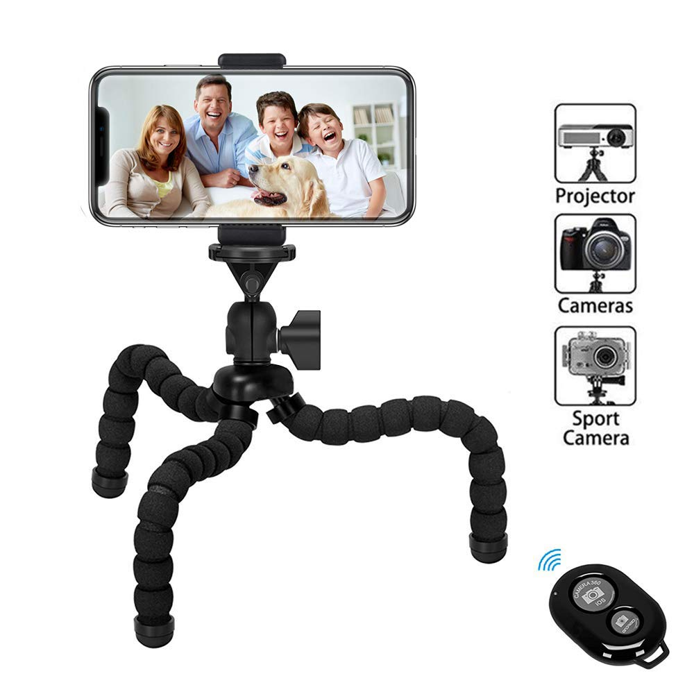 Kimfoxes Phone Tripod,Upgraded iPhone Tripod with Wireless Remote Shutter Compatible with iPhone/Android Samsung, Mini Tripod Stand Holder for Camera GoPro/Mobile Cell Phone