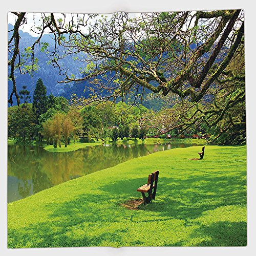 Cotton Microfiber Hand Towel,Nature,Panoramic View of Public Lake Garden at Asian Park Idyllic Landscape,Lime Green Violet Blue,for Kids, Teens, and Adults,One Side Printing from iPrint