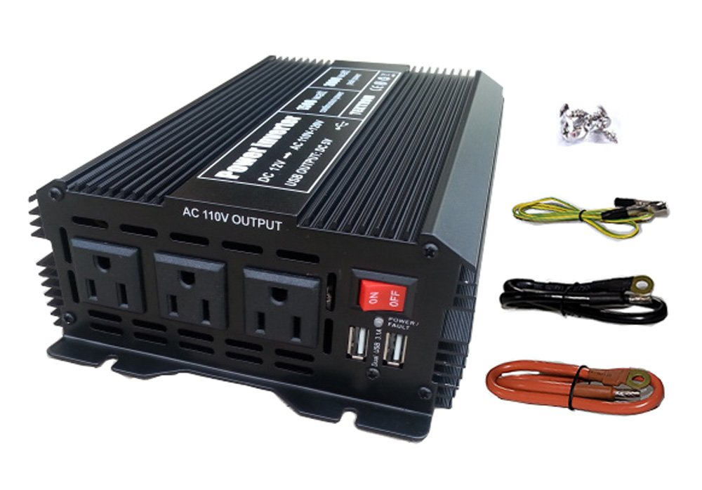 Tektrum Automotive 1500W Power Inverter 12V DC to 110V AC, 3 AC Outlets, 2 USB Ports, Intelligent Cooling Fan, Battery Cables Best for Computer, Fan, TV, mini-Fridge, Window A/C, Laptop, Smart Phone by Tektrum