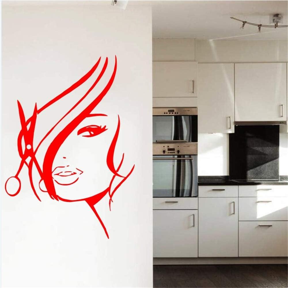Ajcwhml Peluquería Salón Chica Vinilo Wallpaper Home Art Deco Etiqueta de la Pared Chica Belleza Pelo Calcomanía de Pared 42x65 cm: Amazon.es: Hogar