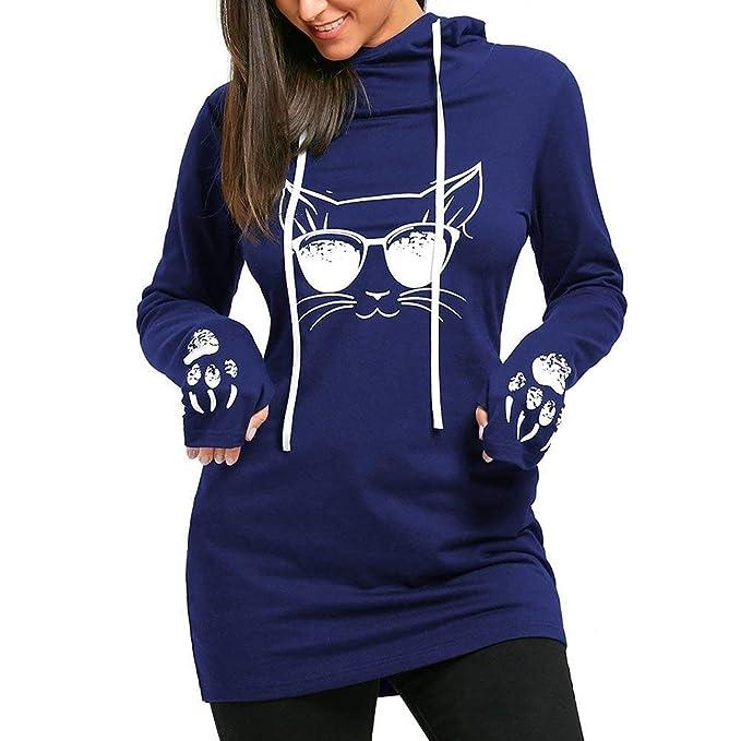Señoras Sudaderas Vestidos Mujeres Largo Pullover con La Impresión del Gato Retro Casual Sólido Slim Fit Vestidos con Capucha Suéteres Largos Tops: ...