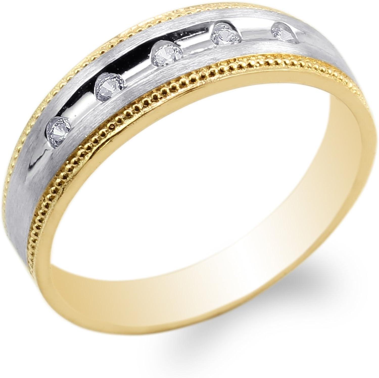 JamesJenny Mens 14K Yellow Gold Two Tone Round CZ Embedded Wedding Ring Size 7-11
