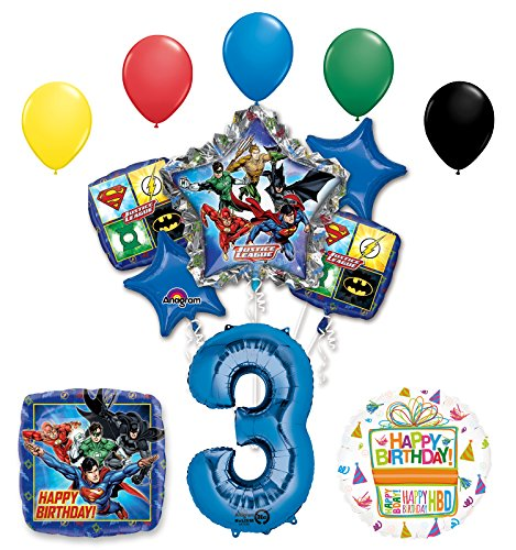 The Ultimate Justice League Superhero 3rd Birthday Party Supplies and Balloon Decorations