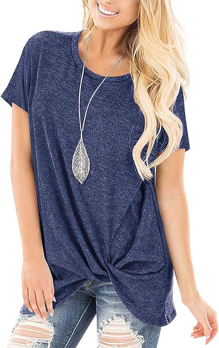 SAMPEEL Women's Casual Shirts Twist Knot Tunics Tops