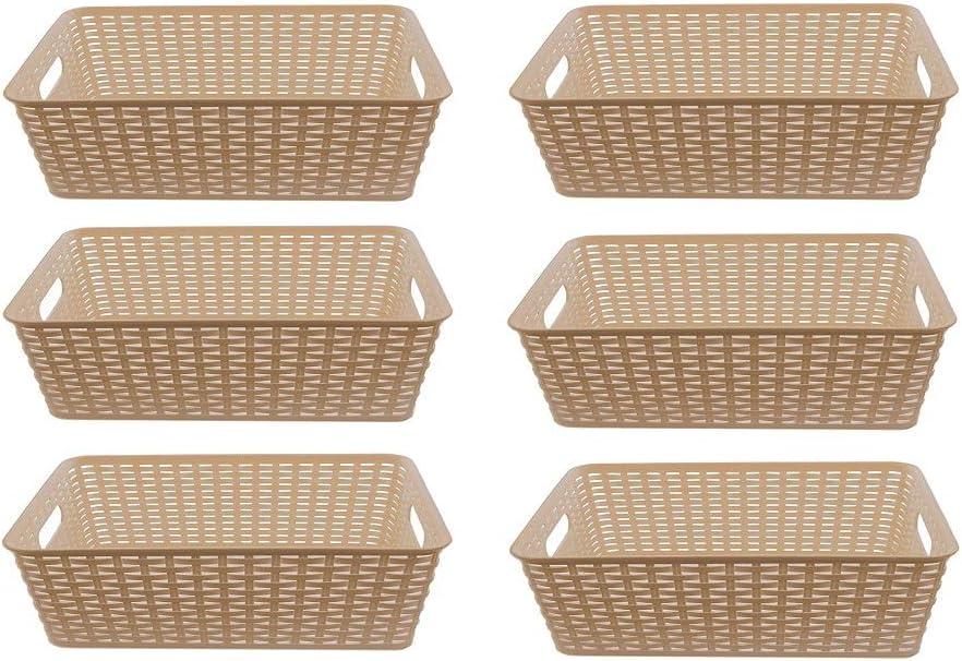 YBM HOME Plastic Rattan Storage Box Basket Organizer Ba413 (6, Beige)