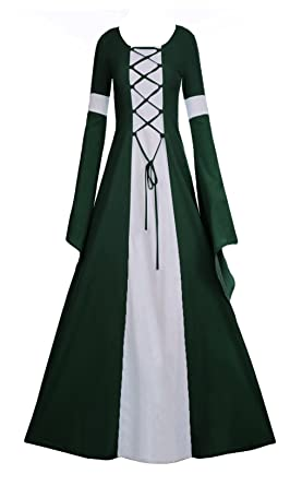 afaad43d1b2 Amazon.com  Fashare Womens Medieval Renaissance Costumes Lace Up Floor  Length Irish Over Dress Plus Size Gowns  Clothing
