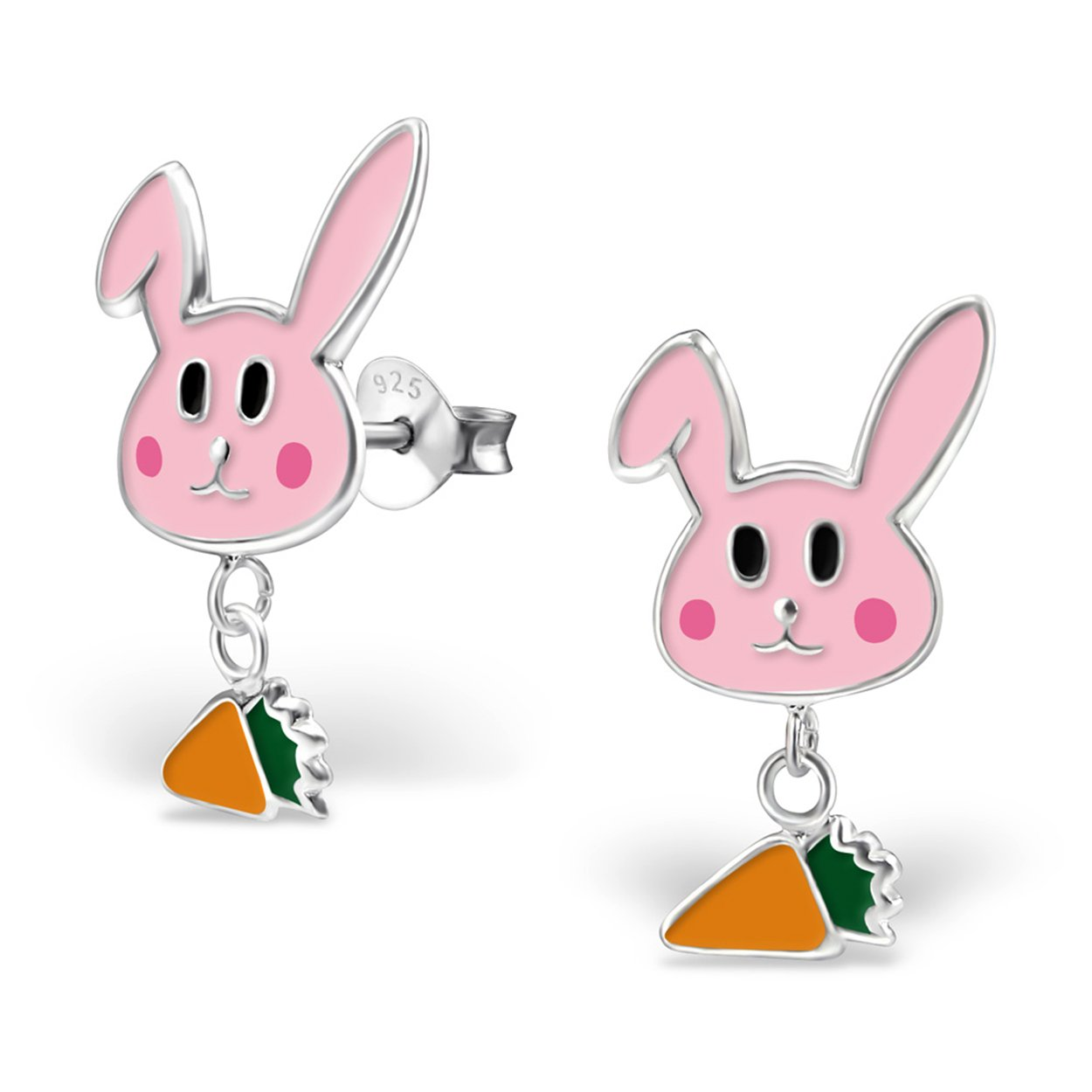 Best Wing Jewelry .925 Sterling Silver Rabbit and Carrot Childrens Stud Earrings