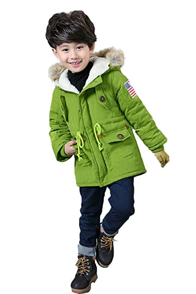 f6584cfcd2bd Amazon.com  Unisex Boys Girls Winter Hooded Coat Kids USA Flag Thick ...