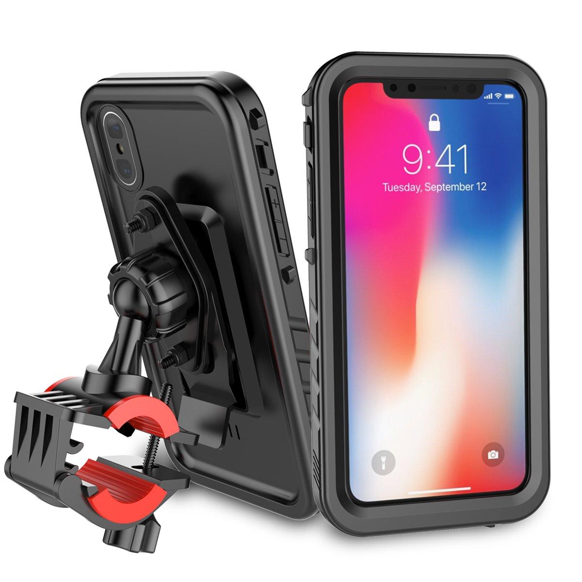 half off 337da 55fe7 Bike Mount iPhone X/ iPhone 10 Waterproof Outdoor Case Shockproof Bicycle  Holder Cradle Handlebar Mount Holder Shockproof + Screen Protector for ...