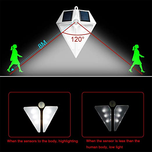 H&G Lámpara Solar LED para Entrada, Foco Solar de Pared Impermeable con Sensor de Movimiento-Detector Activado Auto On / Off para Exterior, Jardín, Patio, ...