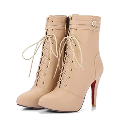 60a088d10fbe4 Amazon.com : FCXBQ High Stiletto Heels Ankle Boots, Lace-Up Short ...