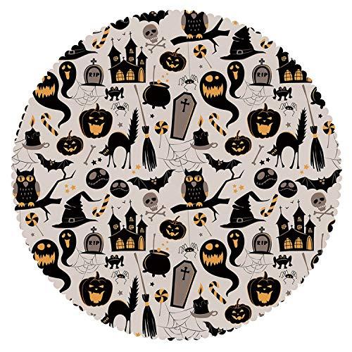 iPrint Multicolor Round Tablecloth [ Vintage Halloween,Halloween Cartoon Jack o Lantern Tombstone Skulls and Bones Decorative,Light Grey Multicolor ] Fabric Home Tablecloth Ideas