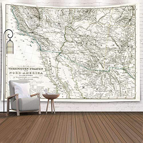 Gesmatic Living Room Tapestry, 80X60 Inches Wall Hanging Large Style Antique Map Southwest United States Stieler Traditional Tapestry Multicolor Pattern Printed,Blue Green