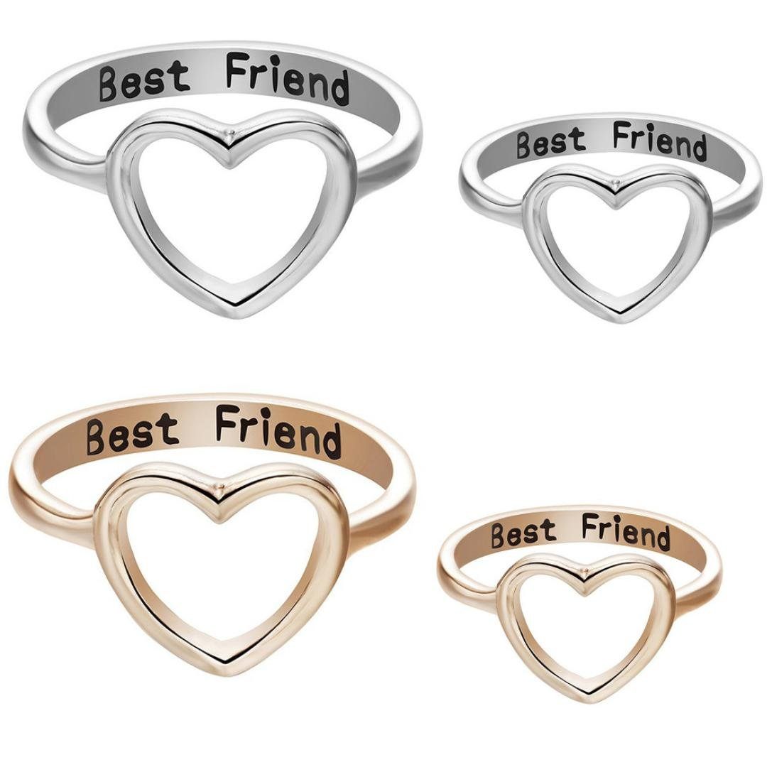 OldSch001® Friendship Rings, Fashion Letter Best Friends Ring Simple Hollow Heart Ring OldSch001-Rings