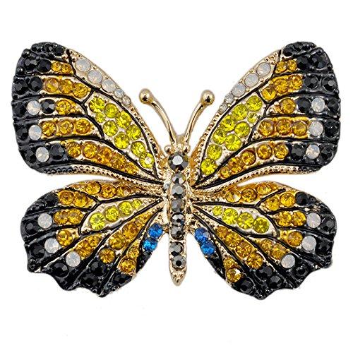 Reizteko Winged Butterfly Crystal Rhinestones Brooch Pin (Yellow)