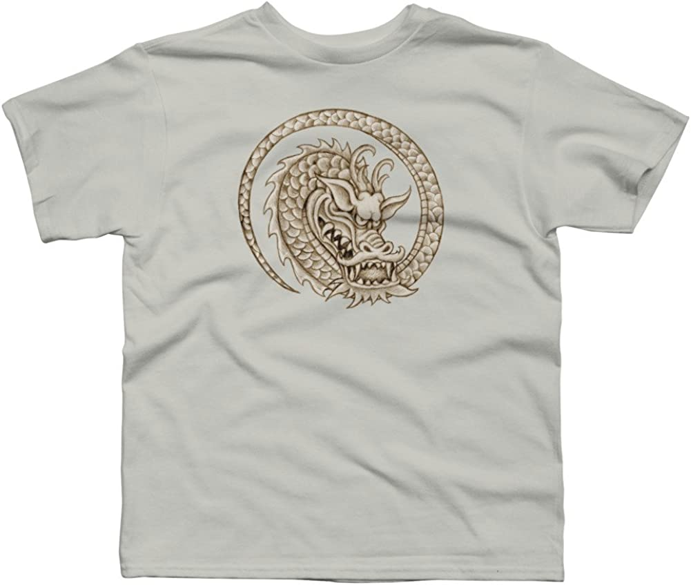 Design By Humans Circle Dragon Boys Youth Graphic T Shirt