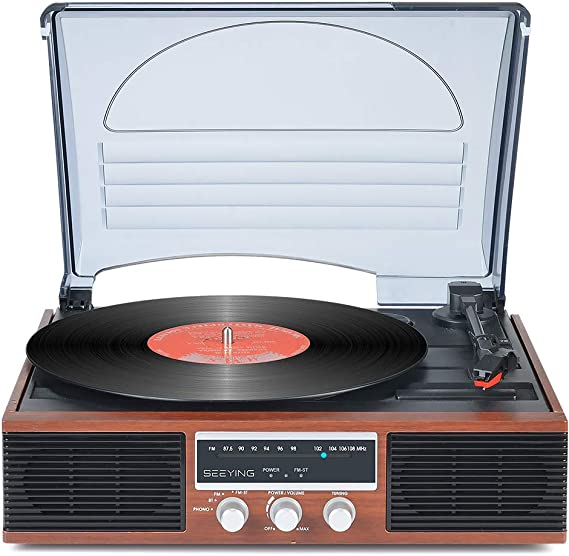 Record Player with Speakers Vintage Turntable 3-Speed Bluetooth Vinyl Record Player Support FM Stereo Radio with Clear Channel Screen Audio Output Retro Brown Wood 2020 Upgraded